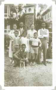 Victor Buencamino (second from left, second row), with his family in the Pines Hotel, Baguio, 1932. Rightmost on second row is his eldest son, Felipe Buencamino III.