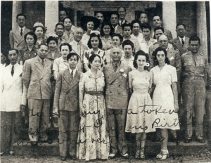 Commonwealth government-in-exile and members of the Filipino community, Leesburg, VA, shortly after President Quezon's arrival, May, 1942.  President Quezon's doctors are: (2nd row, first on right) Benvenudo R. Diño; (2ns row, 2nd from right) Dr. Andreas Trepp; (2nd row, 1st from right) Emigdio Cruz.